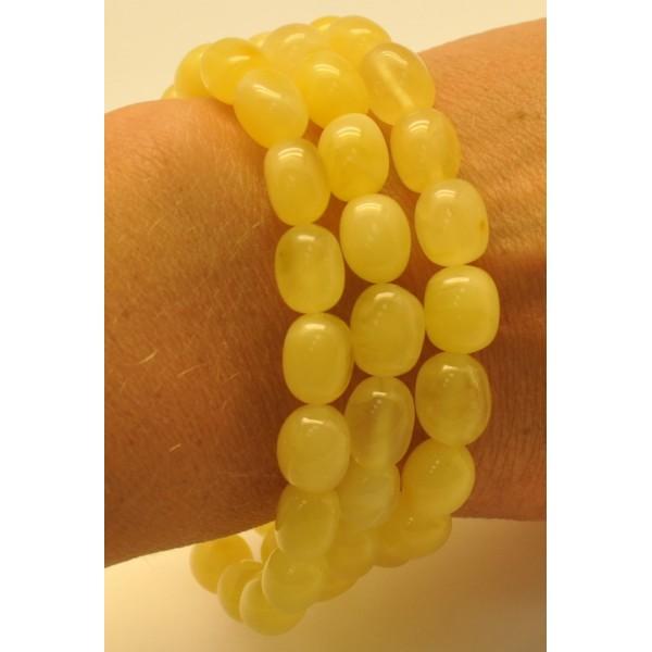 Lot of 3 yellow olive shape amber bracelets - AB2782