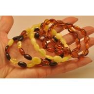 Lot of 5 button shape  Baltic amber bracelets