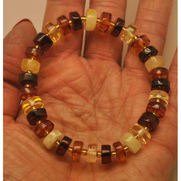 Multicolor Baltic amber elastic bracelet-AB2804