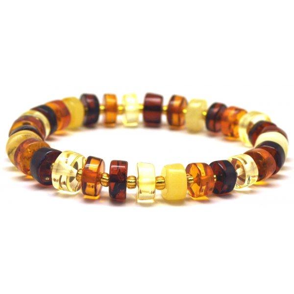 Multicolor Baltic amber elastic bracelet-AB2888