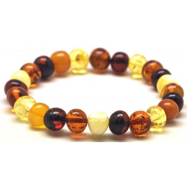 Multicolor baroque beads Baltic amber bracelet-AB2820