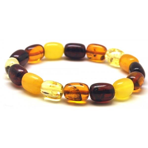 Multicolor barrel shape Baltic amber bracelet-AB2811