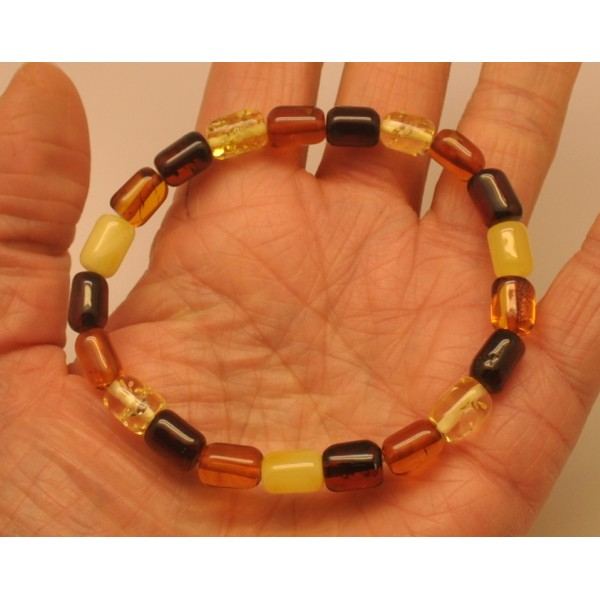 Multicolor greek style Baltic amber bracelet-AB2839
