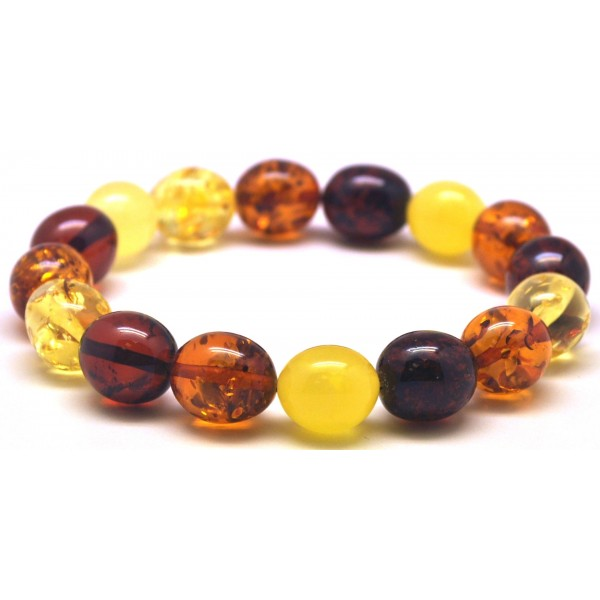 Multicolor olive shape Baltic amber bracelet-AB2892