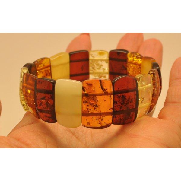 Multicolour Baltic amber bracelet-AB2787