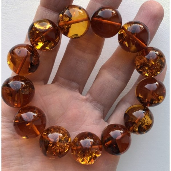 Round amber beads | Round beads Baltic amber bracelet 16 mm.