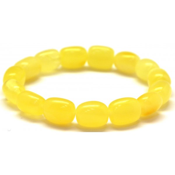 Yellow barrel shape Baltic amber bracelet-AB2905