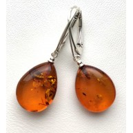 Cognac drop shape amber earrings 925