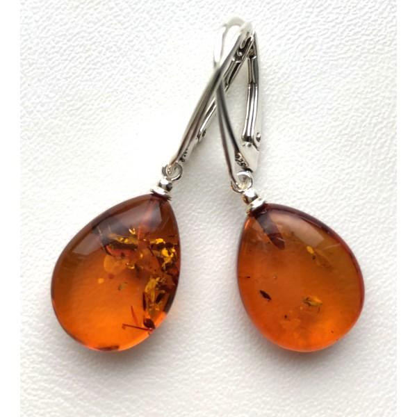 Cognac drop shape amber earrings - 925