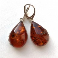 Cognac drop shape amber earrings
