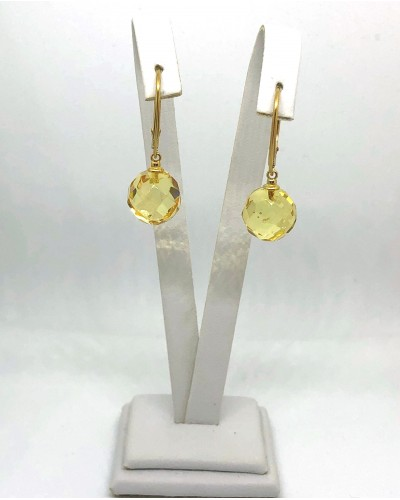 Faceted round beads Baltic amber earrings-AE0308