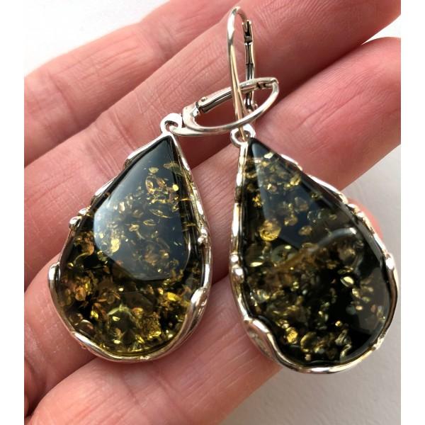 Green drop shape amber earrings -