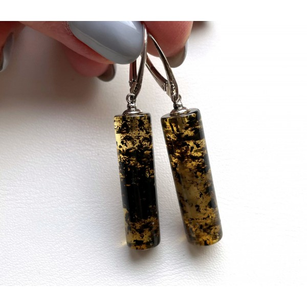 Natural Green Baltic Amber Earrings 5,4 g -