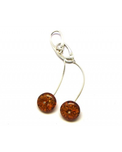 Long cognac Baltic amber  earrings