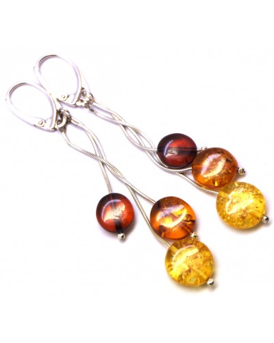 Long round button shape Baltic amber earrings