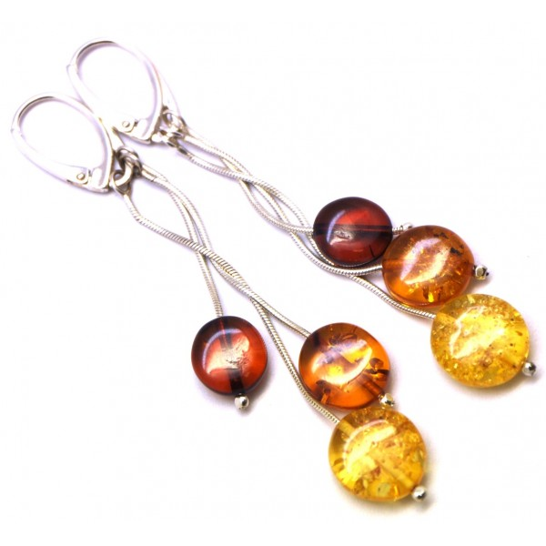 Amber earrings | Long round button shape Baltic amber earrings
