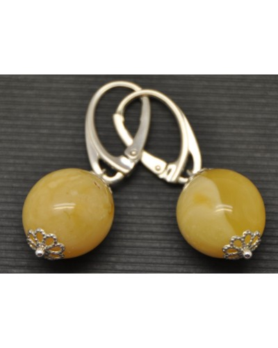 Olive Baltic amber earrings