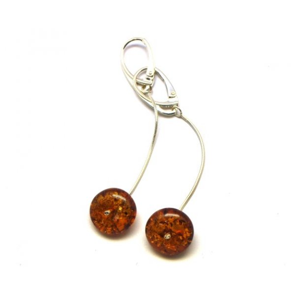 Long cognac Baltic amber earrings-AE0080
