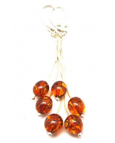 Long Baltic amber olive earrings
