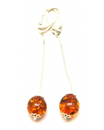 Long cognac Baltic amber olive earrings