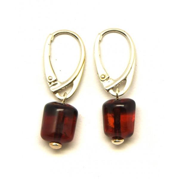 Amber Earrings Barrel Shape Cherry Baltic