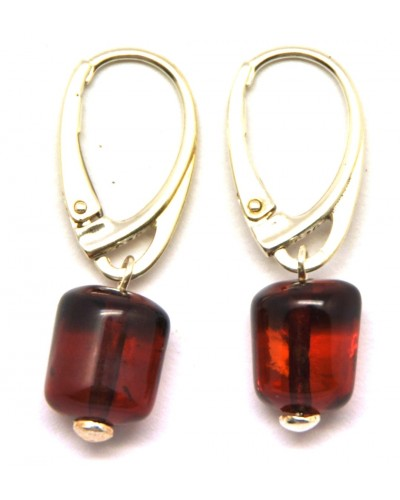 Barrel shape  cherry  Baltic amber earrings