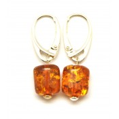 Barrel shape  cognac  Baltic amber earrings