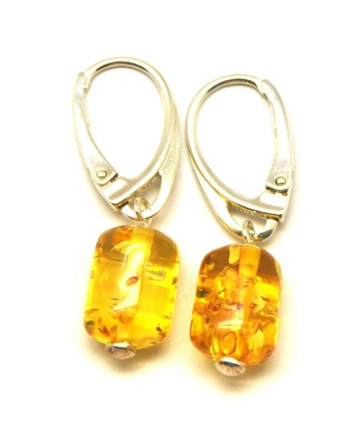 Barrel shape lemon Baltic amber earrings