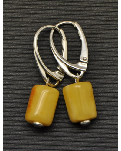 Barrel shape  antique Baltic amber earrings