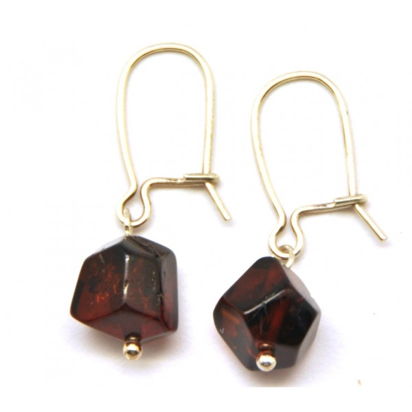 Amber earrings | Faceted Baltic amber earrings