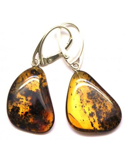 Natural Shape Baltic Amber Earrings