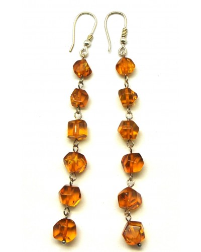 Long cognac  Baltic amber faceted beads earrings