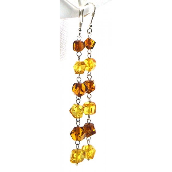 Amber earrings | Long multicolor Baltic amber faceted beads earrings