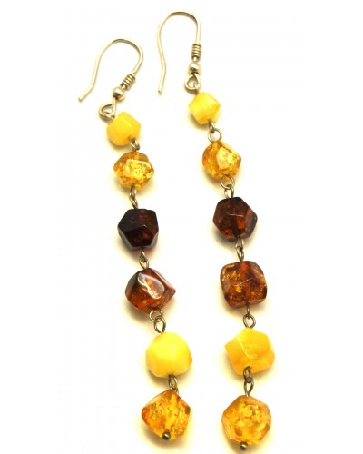 Long multicolor Baltic amber faceted beads earrings