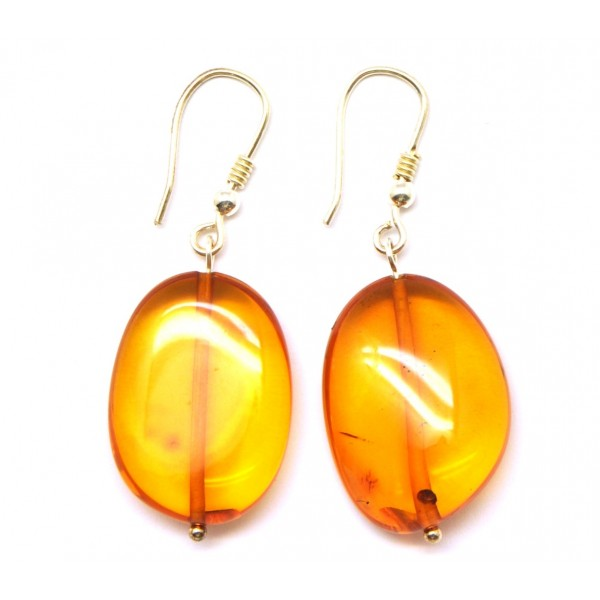 Amber earrings | Big beads Baltic amber earrings