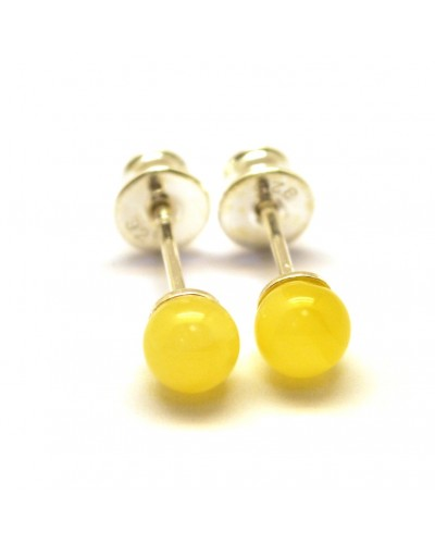 Round beads Baltic amber earrings