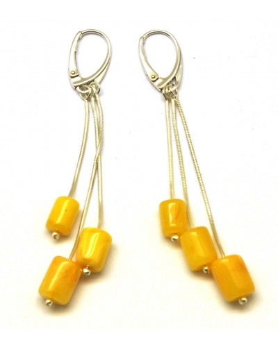 Barrel shape antique Baltic amber long earrings