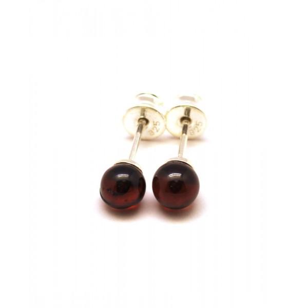 Amber Earrings Cherry Round Beads Baltic