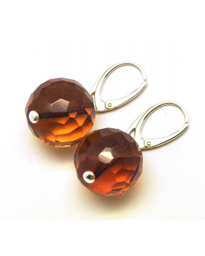 Cognac faceted round  Baltic amber earrings