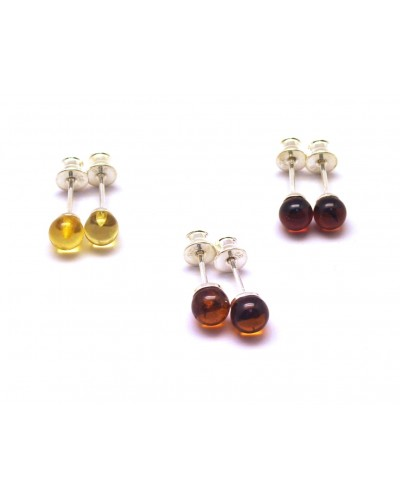 Lot of 3 round beads Baltic amber earrings