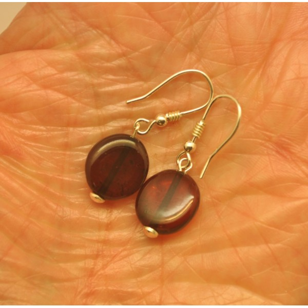 Amber earrings | Button shape Baltic amber earrings