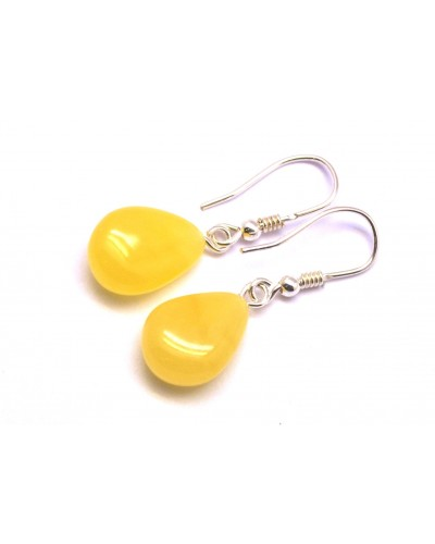 Drop shape amber earrings