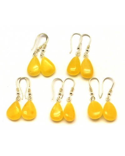 Lot of 5 drop shape amber earrings
