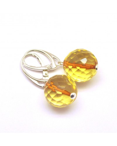 Lemon faceted round  Baltic amber earrings