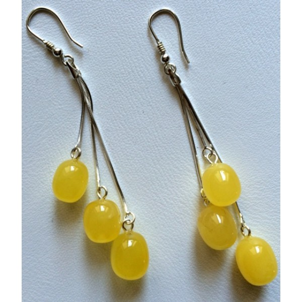 Amber earrings | Long olive shape amber earrings