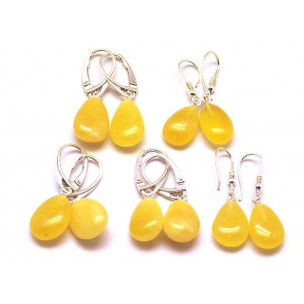 Amber earrings | Lot of 5 drop shape amber earrings