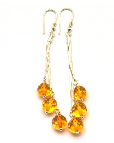 Long faceted Baltic amber round beads earrings