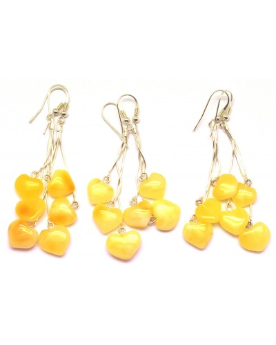 Lot of 3 long heart shape amber earrings