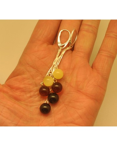 Long Baltic amber round beads earrings
