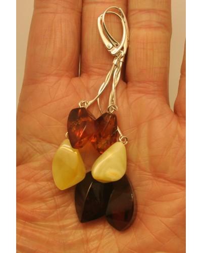 Long faceted Baltic amber earrings
